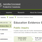 Productivity Commission inquiry into education evidence
